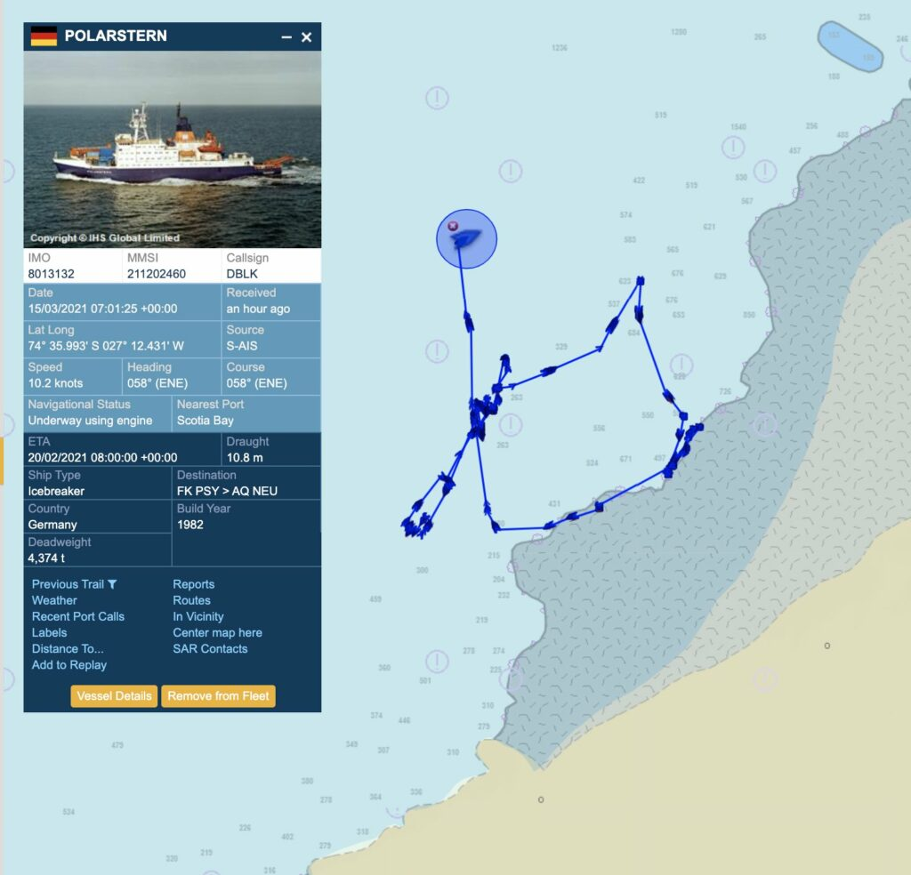 RV Polstern navigates the Brunt Ice Shelf A74 Ice Berg from the